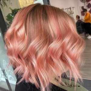 pastel peach apricot wavy bob hair by paper scissors rock hair lounge in swan hill victoria australia