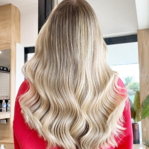 blonde balayage wavy hair Taylah D hair in Albion melbourne victoria australia