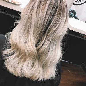 platinum blonde balayage hair by megan bryony in blackburn north melbourne victoria australia